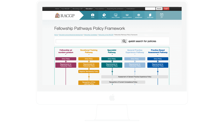RACGP Pathways Policy Framework User Interface (UI) Design